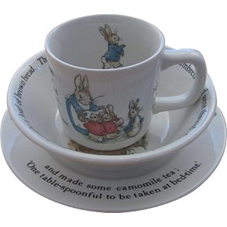 Vintage Wedgwood Peter Rabbit Dishes - Child's 3-Piece Place Setting