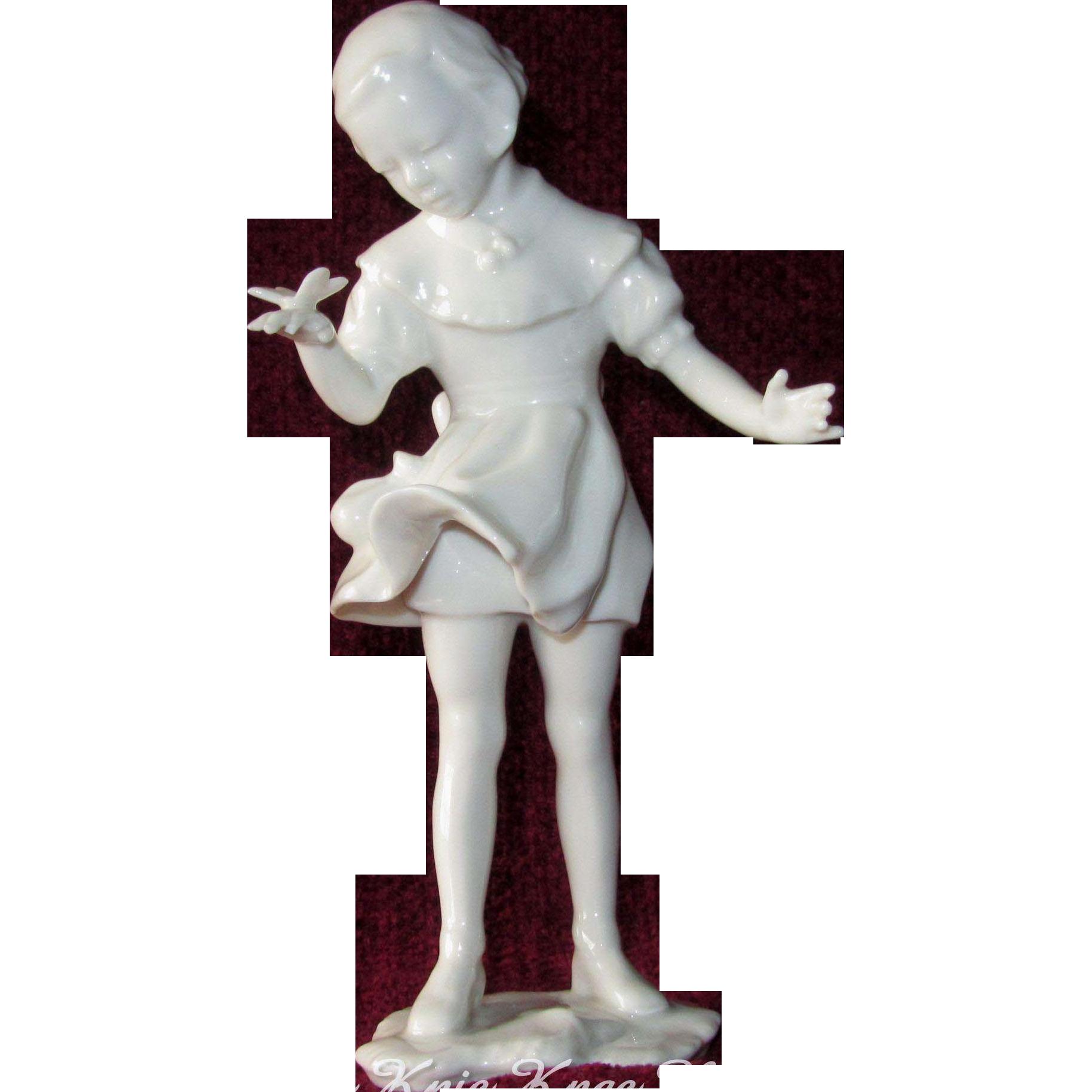 """""""Spring Messenger"""" Hans Achtziger, Artist, Little Girl w/ Butterfly Figurine, Hutschenreuther, Selb"""