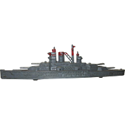 Die Cast Metal Tootsie Toy Battleship, Gray with Red Trim, 1940