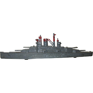 Die Cast Metal Tootsie Toy Battleship, Gray with Red Trim, 1940 - ON SALE!