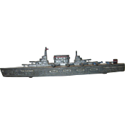 Die Cast Metal Tootsie Toy Aircraft Carrier in Silver with Red Trim, 1940