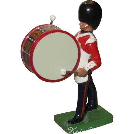 W. Britain Cast Metal Royal Grenadier Marching Bass Drummer