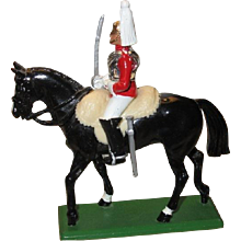 W. Britain Cast Metal Horse and Rider, Officer in Queen's Mounted Lifeguard