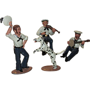 Ted Toy Civil War Union Sailor Musicians, Dancer and Dog, Four-Piece Cast Metal Set