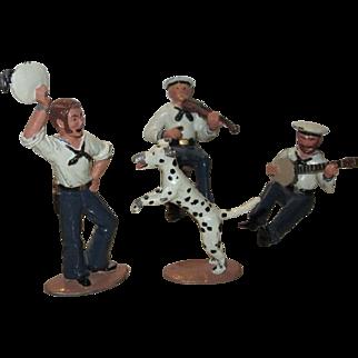 Ted Toy Civil War Union Sailor Musicians, Dancer and Dog, Four-Piece Cast Metal Set