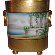Osborne Chicago Studio Cache Pot, 22k Gold Encrusted Vellum Landscape, Signed