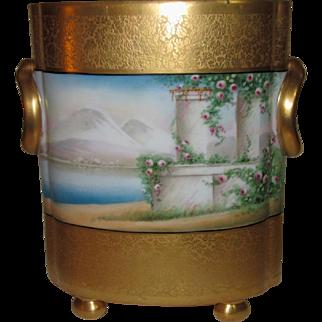 Osborne Chicago Studio Cache Pot, Hand Painted Landscape Scenes, 22k Gold Encrusted, Signed