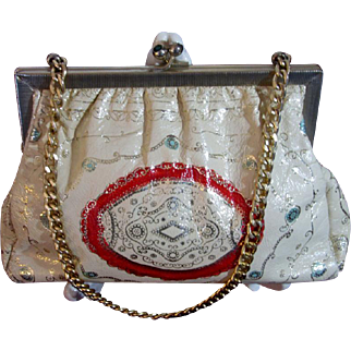 Italian White Kid Leather Vintage Tooled Handbag