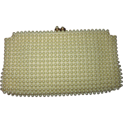 Faux Pearl Grandee Bead Clutch Purse, 1950s