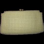 Faux Pearl Grandee Bead Clutch Purse, 1950s