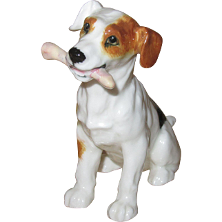 Royal Doulton Jack Russell Terrier Sitting with Bone, Dogs of Character #1159
