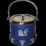 Antique Wedgwood Jasperware Biscuit Barrel, Indigo Blue, Bulbous Base