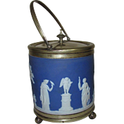 Wedgwood Biscuit Barrel, Indigo Blue Jasperware, Greek Gods & Goddesses