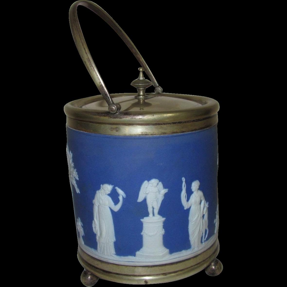 Wedgwood Biscuit Barrel, Indigo Blue Jasperware, Greek Gods & Goddesses