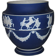 Adams Cobalt Blue Jasperware Urn, Greek Chariots & Horses Motif