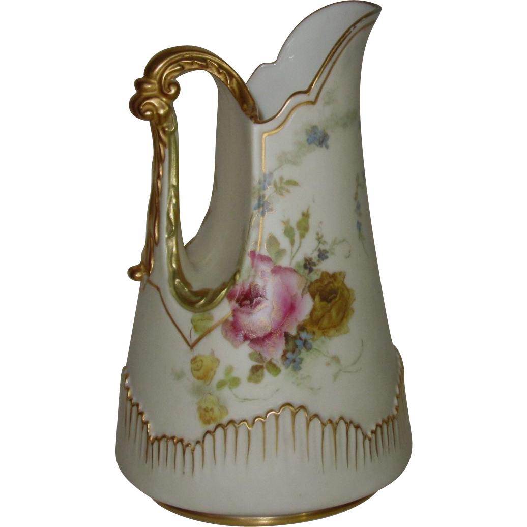Royal Worcester Blush Ivory Pitcher w/ Roses, Cosmos, Forget-Me-Nots, 22K Gold Trim, c.1891