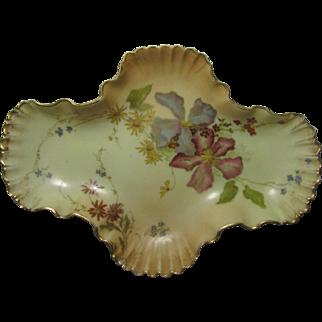 Royal Worcester Clematis Blooms, Blush Ivory Quatre-Foil Bonbon Dish