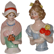 Two Colorful Half Dolls with Flowers, Delicate Features