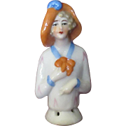 Tiny Glamorous 1920s Half Doll in Drooping Picture Hat