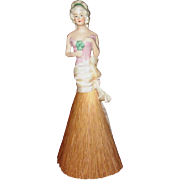 German Vanity Brush or Whisk Broom Half Doll, 18th Century-Style Hairdo