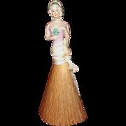 German Vanity Brush or Whisk Broom Half Doll, 18th Century-Style Hairdo