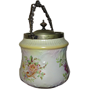 """Antique Carlton Ware """"Blush"""" Biscuit Barrel with Ornate Metal Bail by John Round & Son"""