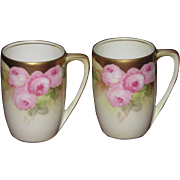 RS Germany Hand Painted Pair of Chocolate Cups, Gold Trim, Pink Roses