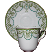 Cauldon Demitasse, Cup and Saucer Set in Green, Turquoise and White