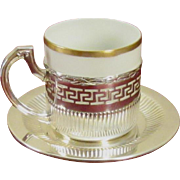 Wilhelm Binder, German 800 Sterling Silver Espresso Cup and Saucer Set; Gold Trimmed Eggshell Porcelain