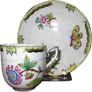 Herend Gold Trimmed Queen Victoria Demitasse Set