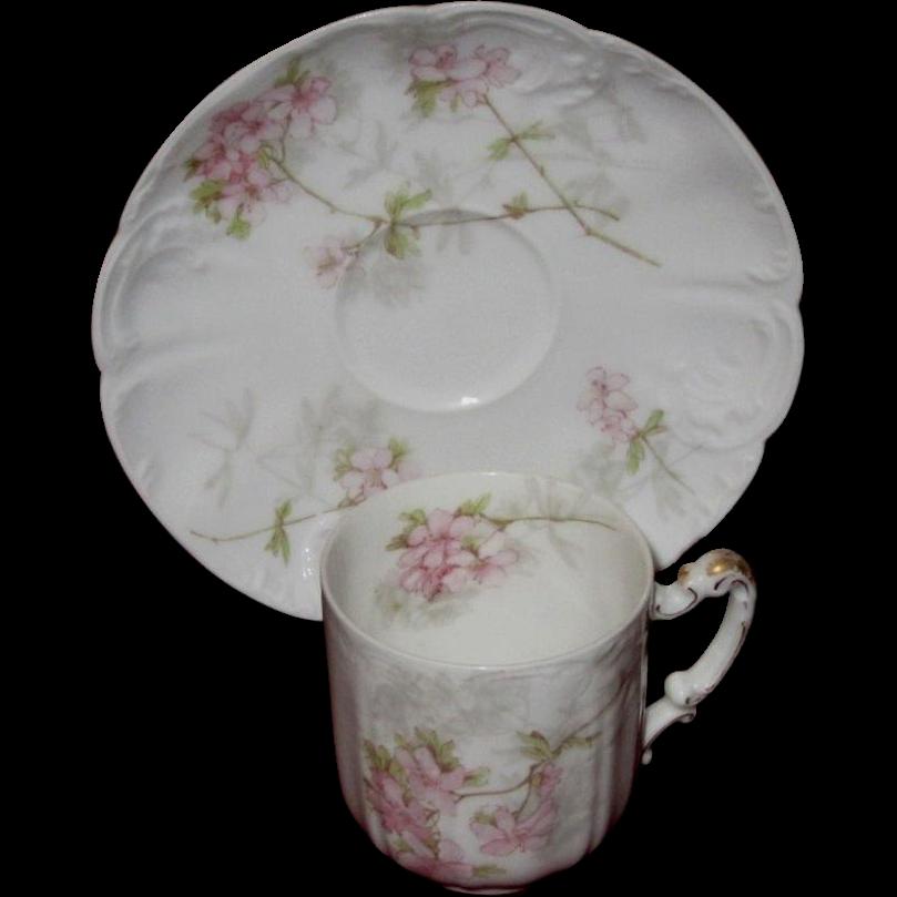 Haviland, Limoges Antique Eggshell Porcelain Demitasse Set, Pink Apple Blossoms