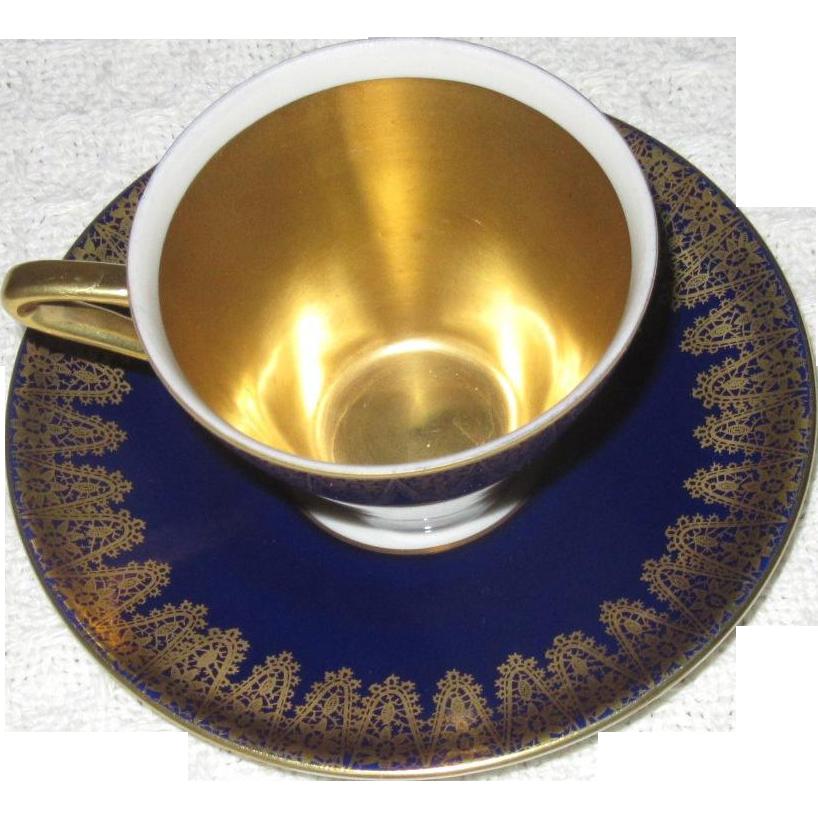 Vintage Cobalt and Gold Demitasse Set, Cup and Saucer, Royal Porzellan, Bavaria