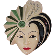 Dorothy Ann Crown Derby Hand Painted Wall Mask, Green, Artist Signed, 1930s