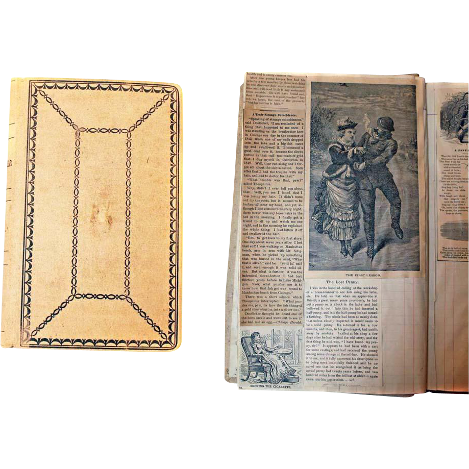 1880 Newspaper Compilation Created BOOK Folk Art Pictures Anecdotes Articles