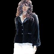 LUXURY Neiman Marcus Oscar de la Renta BLAZER Black Velvet Silk Size 6