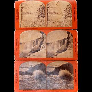 *RARE* 3 Stereo Cards Albumen Geo. Barker, Photographer, Niagara Falls 1880-1900