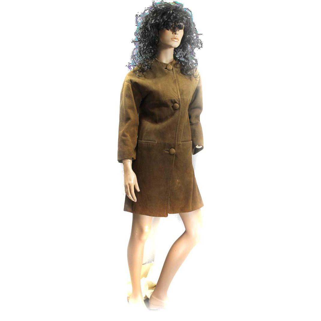 1960s Suede Coat Ladies No Collar Dark Brown Size 8