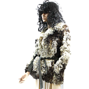 Fur MongolianTibetan Curly Lamb Jacket Cream, Tan, Brown Suede Trimmed d'Jimas Furs LOVELY!