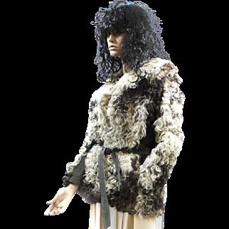 Fur MongolianTibetan Curly Lamb Jacket Cream, Tan, Brown Suede Trimmed d'Jimas Furs LOVELY!