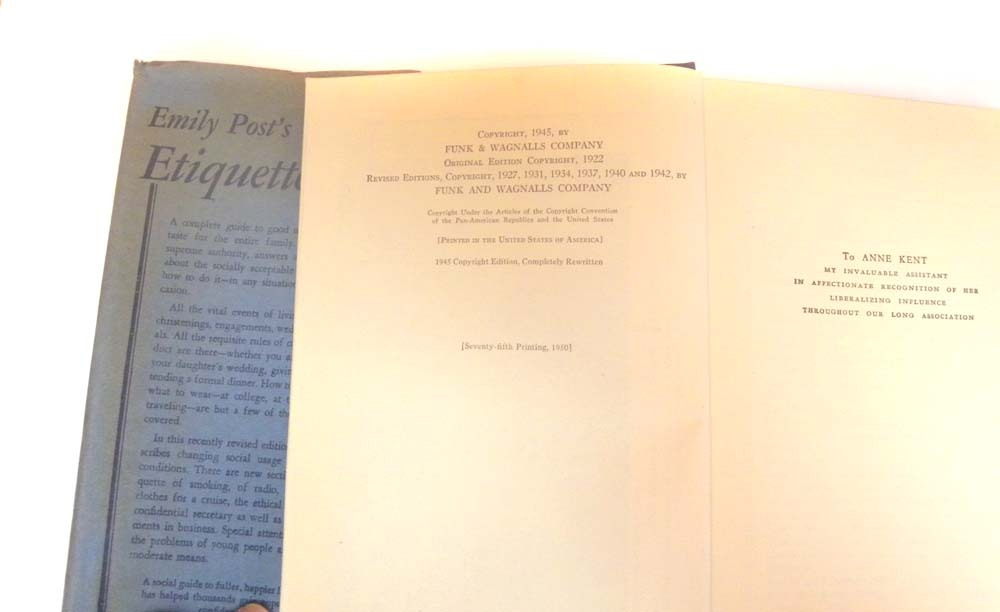 Emily Post Wedding Gift Etiquette: Emily POST'S Etiquette Book Revised 1947 Post War FABULOUS