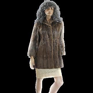 1950s Mink Ladies Medium Swing Coat ¾ Length DEY BROS Bell Sleeves Mint!