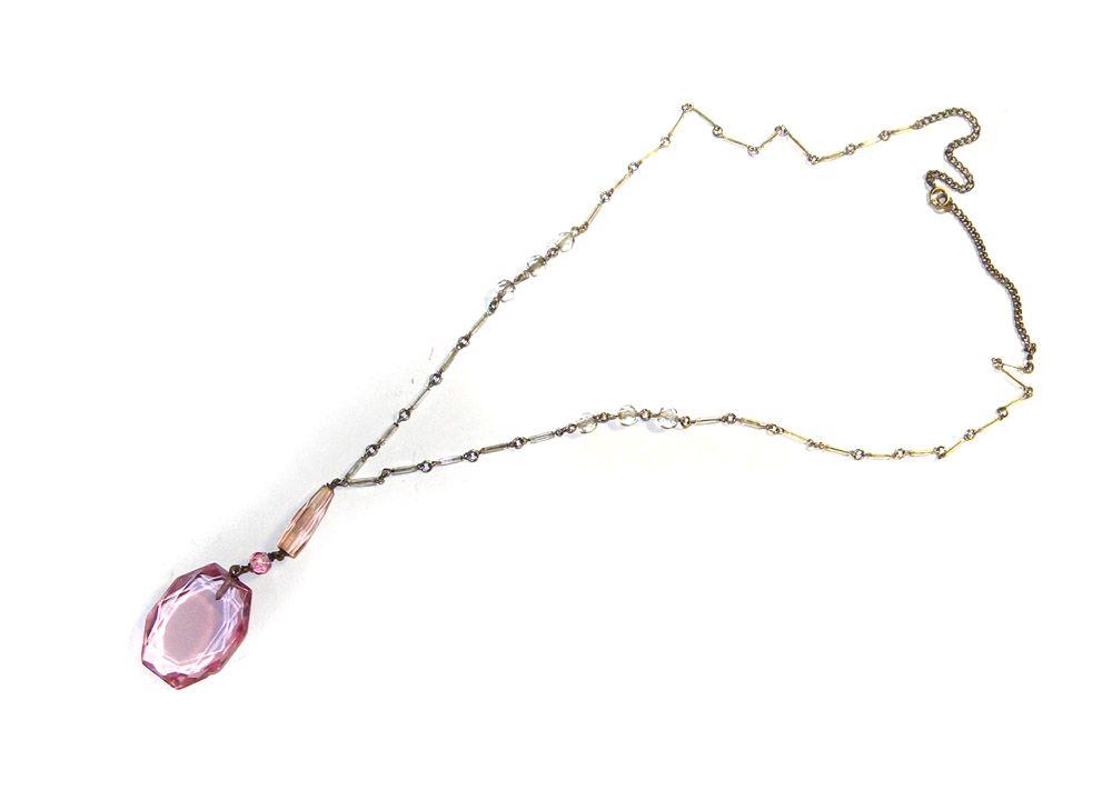 Czech Art Deco HUGE Pink Crystal Y Necklace Czechoslovakia STUNNING