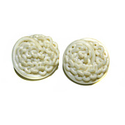 2 Celluloid Noodle Shank BUTTONS Twisted Chain LINK Design 28mm