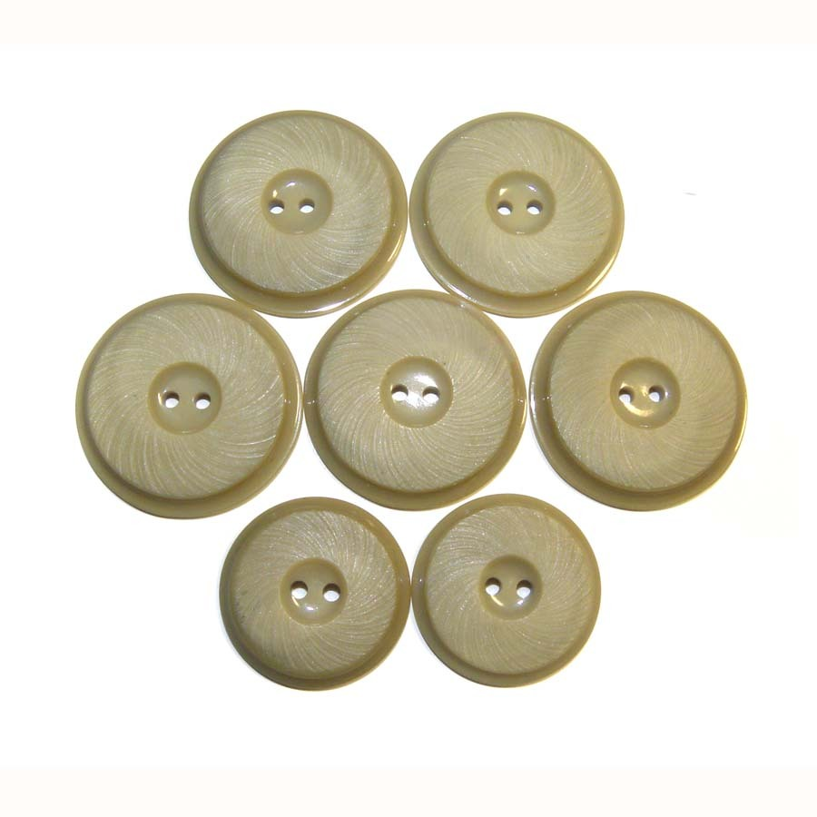 7 Early Plastic Coat Buttons TWO SIZES Beige etched
