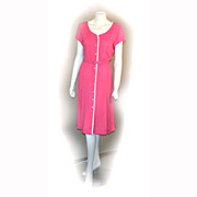 1950s Berkshire B-Tween Size 16 Casual LINEN Raspberry Career Belted Dress