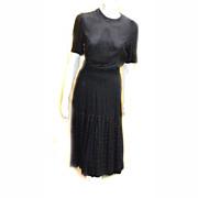 1930s Flapper Mourning RIVETS BLack Rayon DRESS Registered RARE