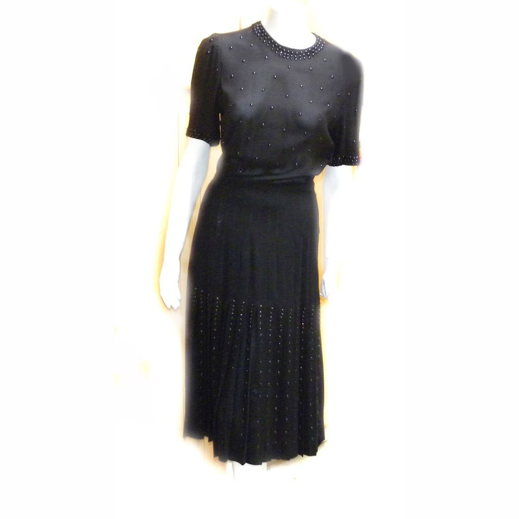 1930s Flapper Mourning RIVETS BLack Rayon DRESS Registered RARE