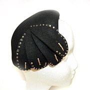 Genuine FUR FELT Black HAT Plumes Flirty Jet STONES