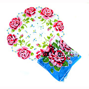 2 Handkerchiefs Hanky Round ROSES Vibrant Colors