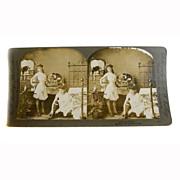 "Stereo View Card ALBUMEN Ladies 1900 E W Kelley Rau ""A Dainty Toilet"""